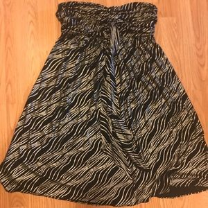 Express sleeveless silver & black dress